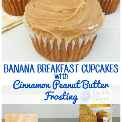 Banana Breakfast Cupcakes with Peanut Butter Frosting