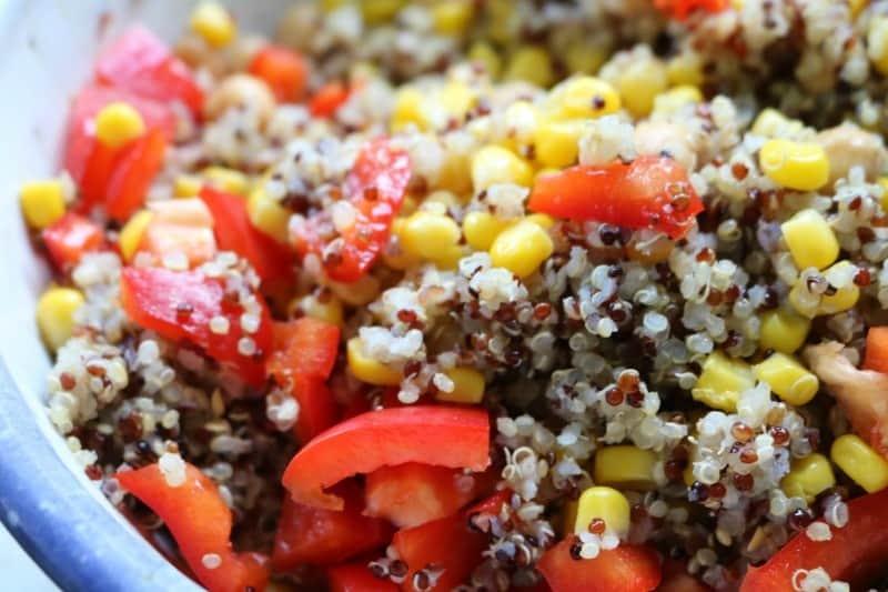 basil quinoa salad close