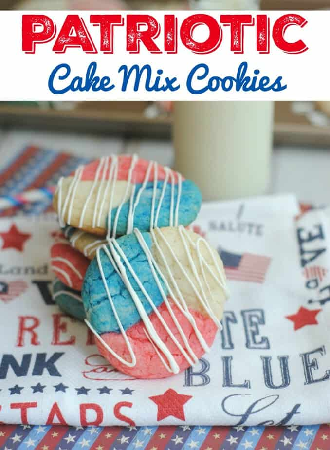 Patriotic Cake Mix Cookies- This Mama Loves