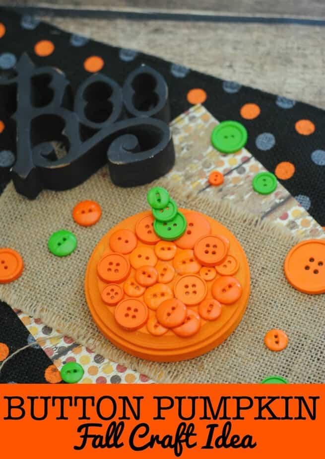 Fall Craft Idea Button Pumpkin Craft