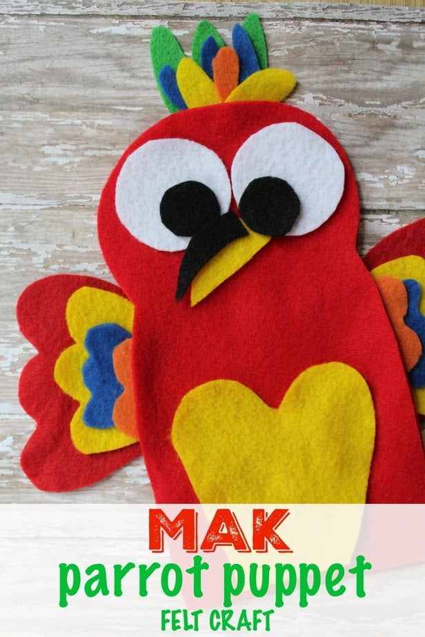 Mak inspired Felt Parrot Puppet Craft from This Mama Loves