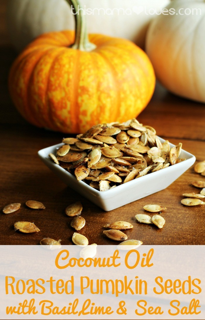 Coconut Oil Roasted Pumpkin Seeds with Basil, Lime, and Sea Salt