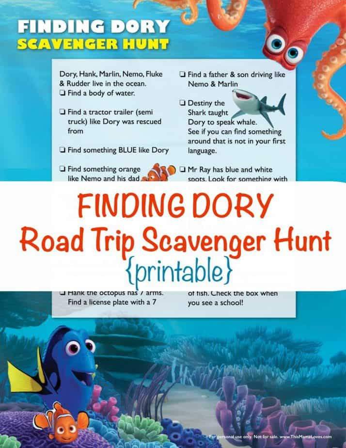 Finding Dory Scavenger Hunt printable from This Mama Loves