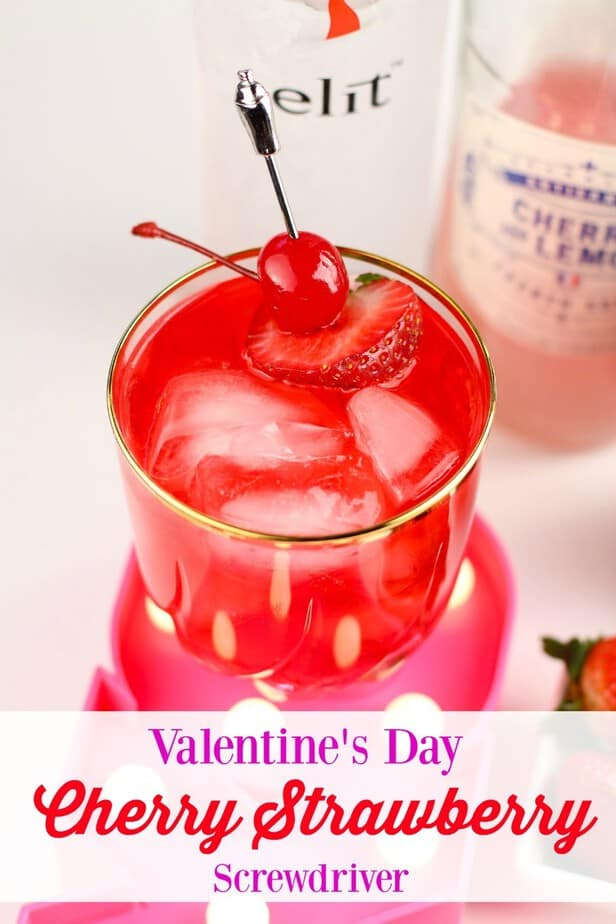 Valentine's Day Cherry Strawberry Screwdriver Cocktail from This Mama Loves