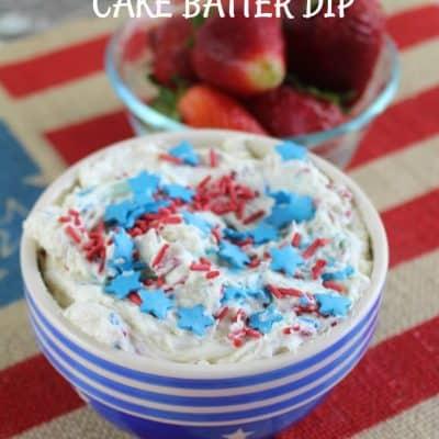 Red, White & Blue Patriotic Cake Batter Dip Recipe