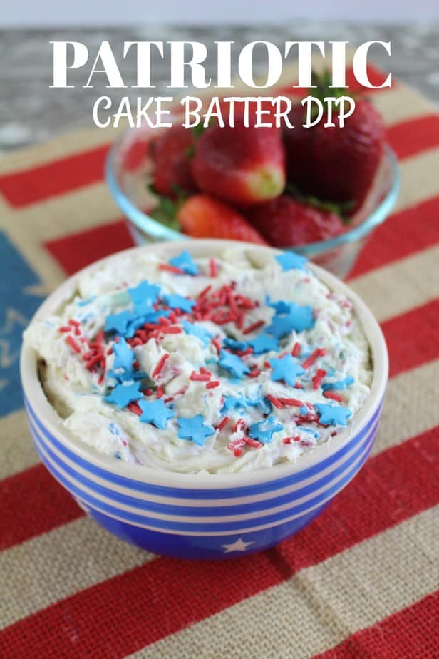 Red White Blue Patriotic Cake Batter Dip Recipe for Fruit