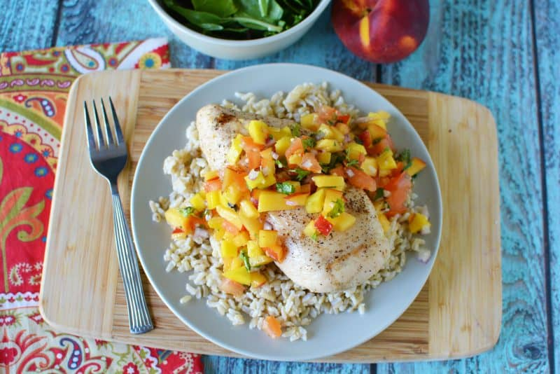 Peach Mango Grilled Chicken Recipe made with Sweet & Fruity Zucchi EVOO from This Mama Loves