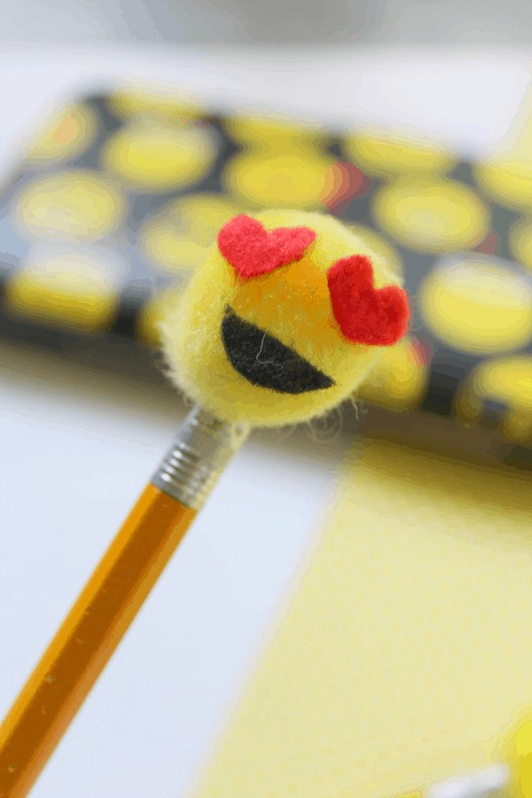 How to make emoji pencil toppers from This Mama Loves
