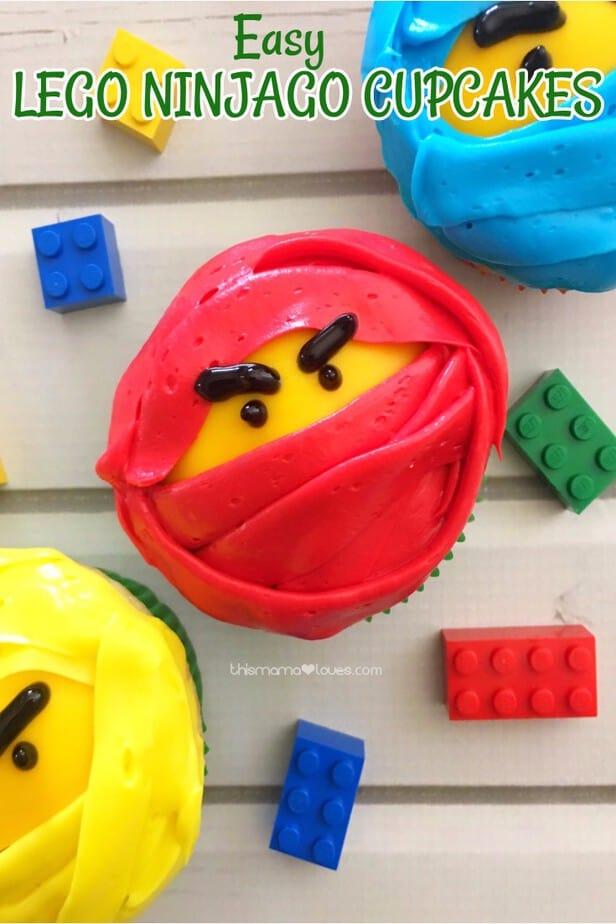 Easy LEGO NINJAGO Movie Cupcakes from This Mama Loves