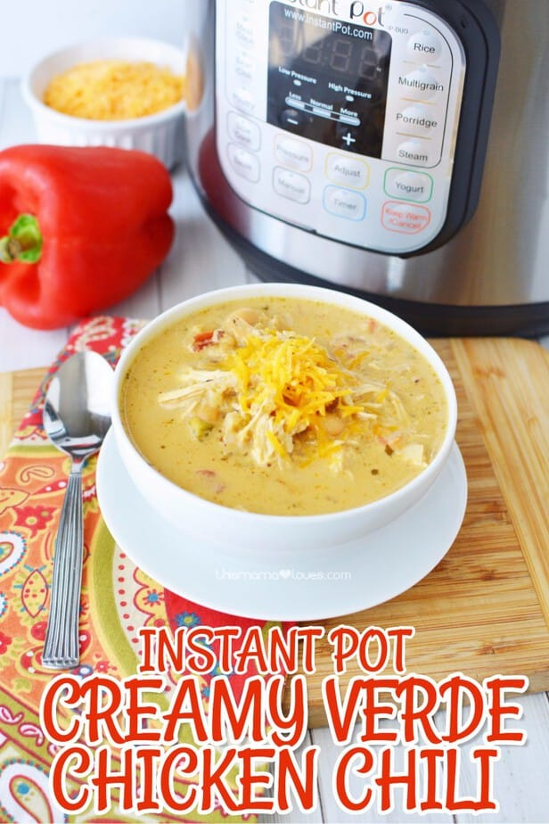 Instant Pot Creamy Verde Chicken Chili Recipe from Trim Healthy Mama- instant pot chili recipe- trim healthy mama- trim healthy table- instant pot chicken recipe-#TrimHealthyTable