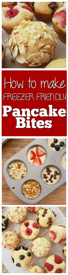 How to make freezer friendly easy pancake bites from This Mama Loves- pancake muffins- freezer friendly pancake muffins - freezer friendly pancake bites