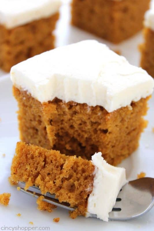 Pumpkin Cake with Cream Cheese Frosting from Cincy Shopper
