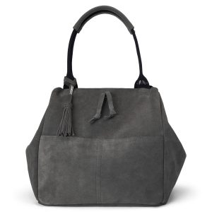 Charcoal Suede Slouchy Tote Image