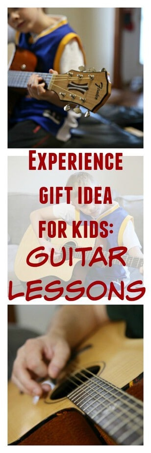 Experience Gift Idea for Kids: Guitar Lessons- give your child (or yourself) the gift of learning guitar at home! Online guitar lessons are a great gift idea for kids and teens- experience gifts for kids- experience gifts for teens- Enter to win one of 15 Fender guitar starter packs #FenderPlay #CLVR