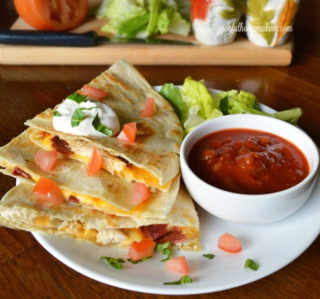 Chicken and Bacon Quesadillas from Joyful Homemaking