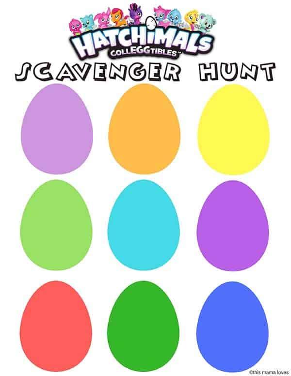 Hatchimals Colleggtibles Printable Egg Hunt Blank
