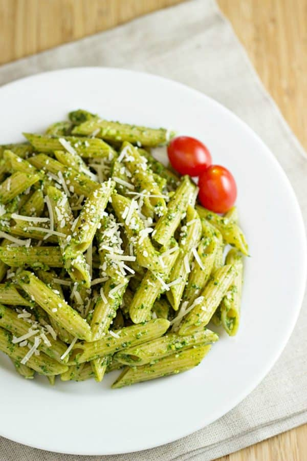 Pasta-with-Spinach-Basil-Pesto-Recipe-from-Home-Cooking-Memories