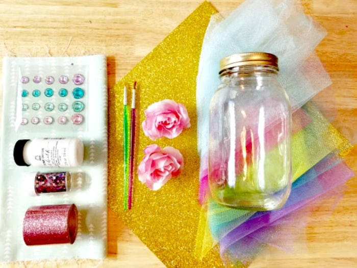 Cute DIY Mason Jar Unicorn Craft Tutorial Supplies