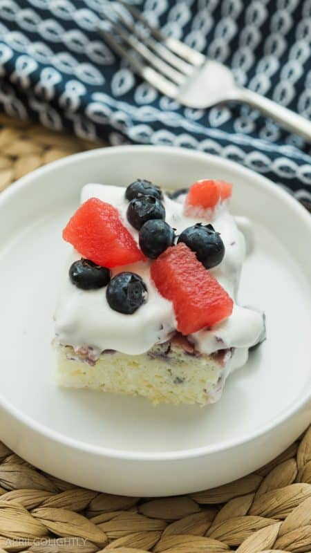 Blueberry Watermelon Poke Cake from April Go Lightly