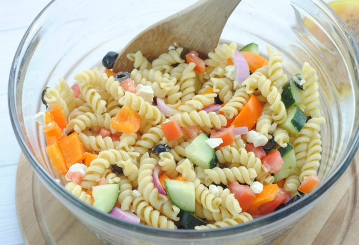 Favorite Greek Pasta Salad Recipe from This Mama Loves