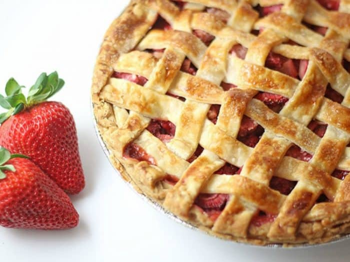 Strawberry Rhubarb Pie Recipe from Rose Bakes