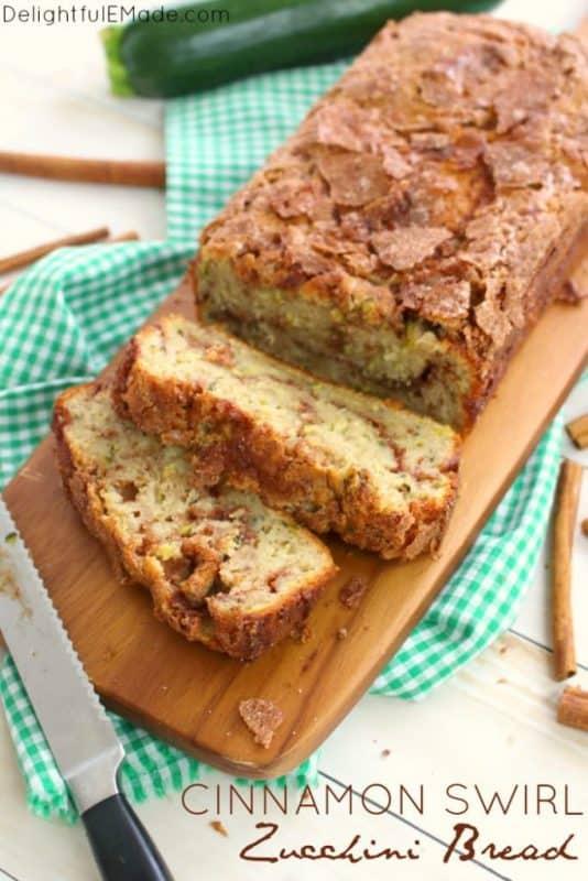 Cinnamon Swirl Zucchini Bread from Delightful E Made