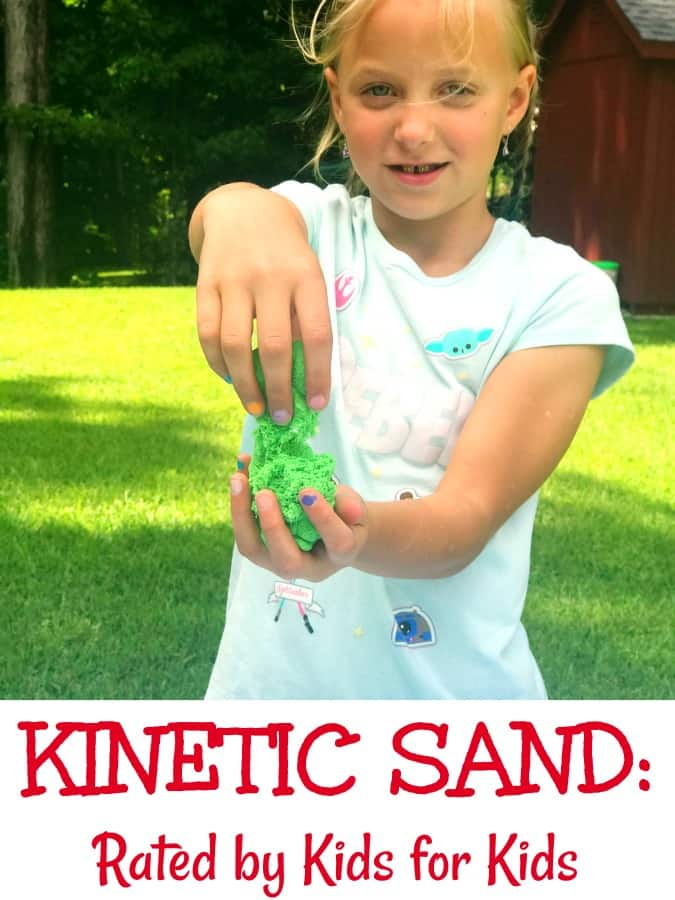 Find out about Kinetic Sand {Rated by kids for kids} - three kids test which play sand really is the best with blindfolds on #KineticSand #Sandisfying