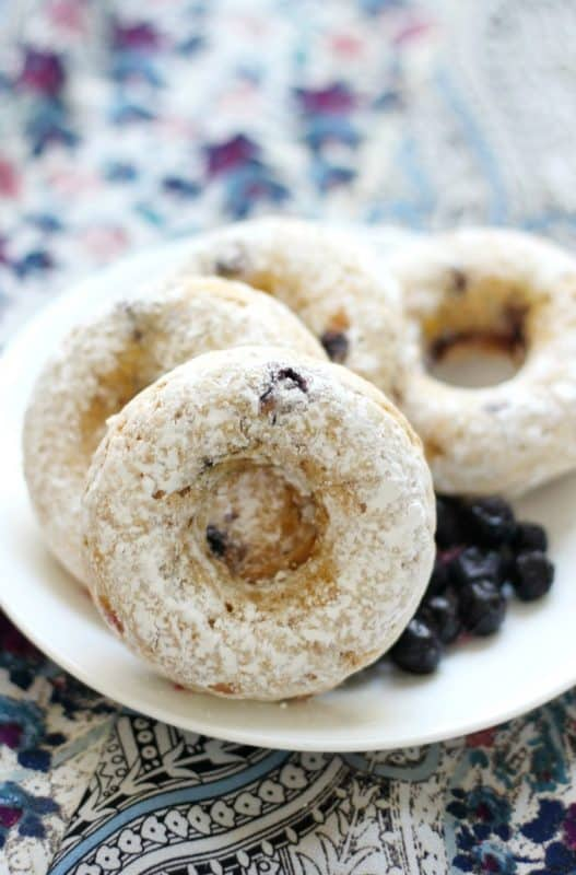 Maple Blueberry Powdered Sugar Doughnuts from Strength and Sunshine