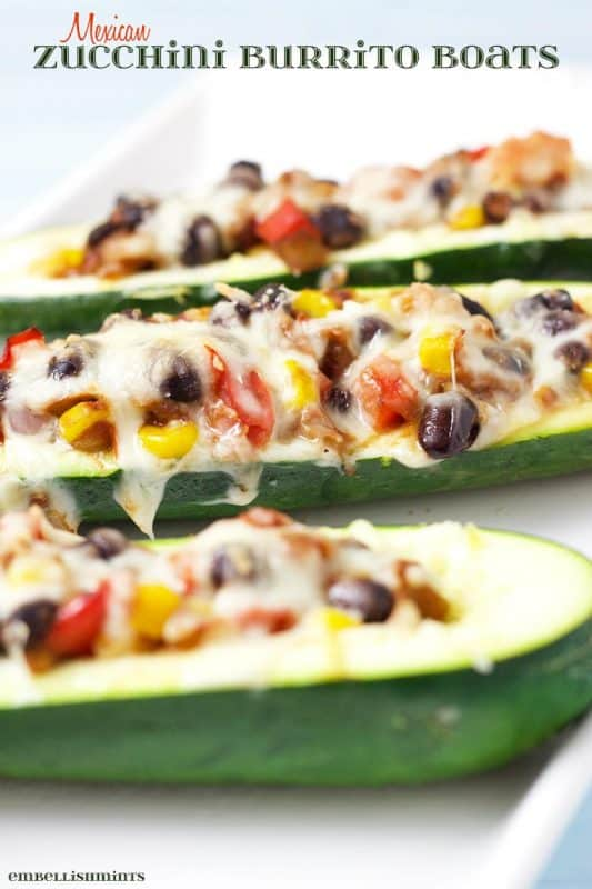 Mexican Zucchini Burrito Boats from Embellishmints