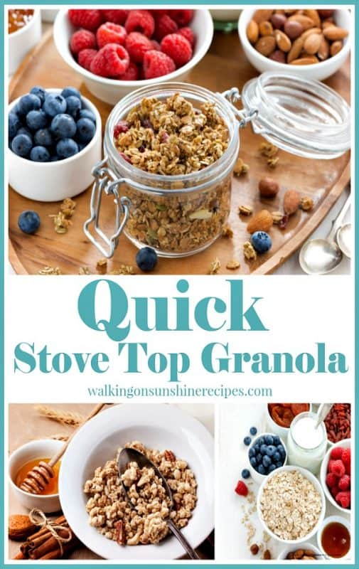 Quick Stove Top Granola from Walking on Sunshine Recipes