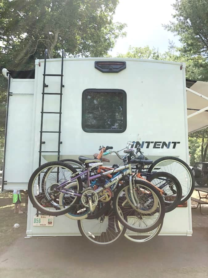 back of winnebago with bikes