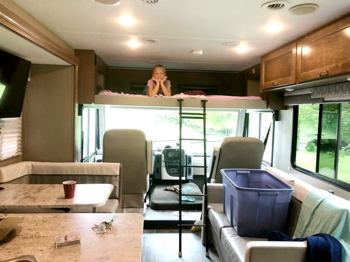view from sink of winnebago