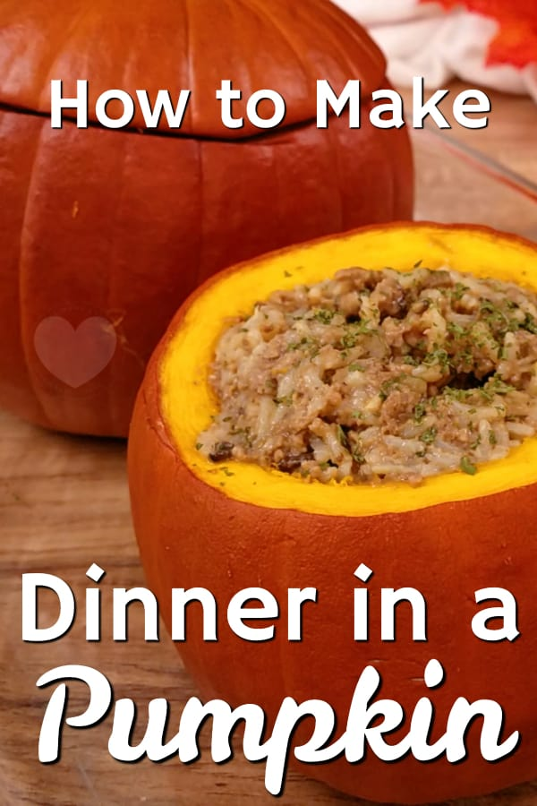 How to make a meal in a pumpkin- dinner in a pumpkin is like stuffed peppers with a whole new flavor twist! Your new favorite pumpkin recipe!