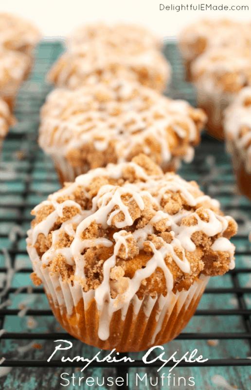 Pumpkin Apple Streusel Muffins from Delightful E Made