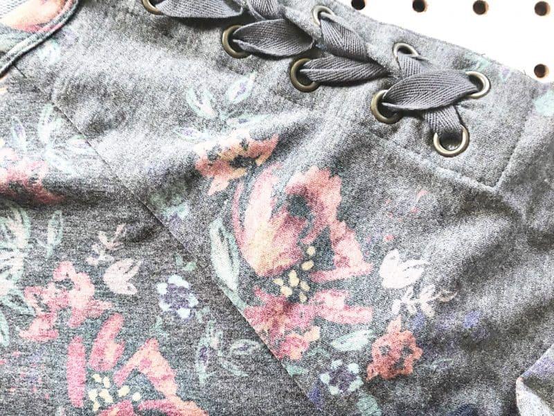 Grey lace up shoulder sweatshirt