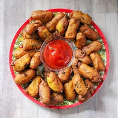 Homemade Corn Bread Mini Corn Dogs-Easy to Freeze & Reheat!