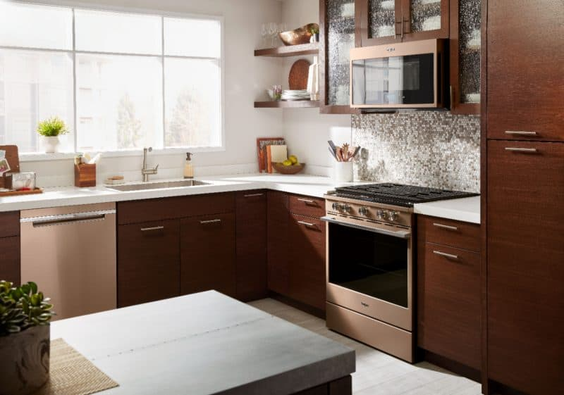 Whirlpool Sunset Bronze Gas Convection Range suite