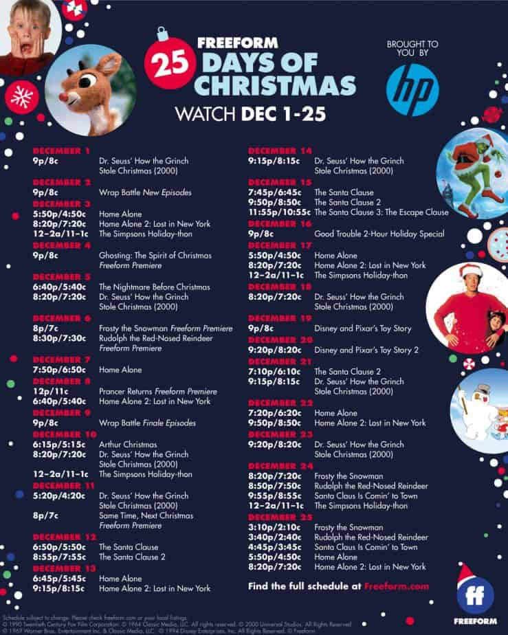 Freeform's 25 Days of Christmas schedule 2019