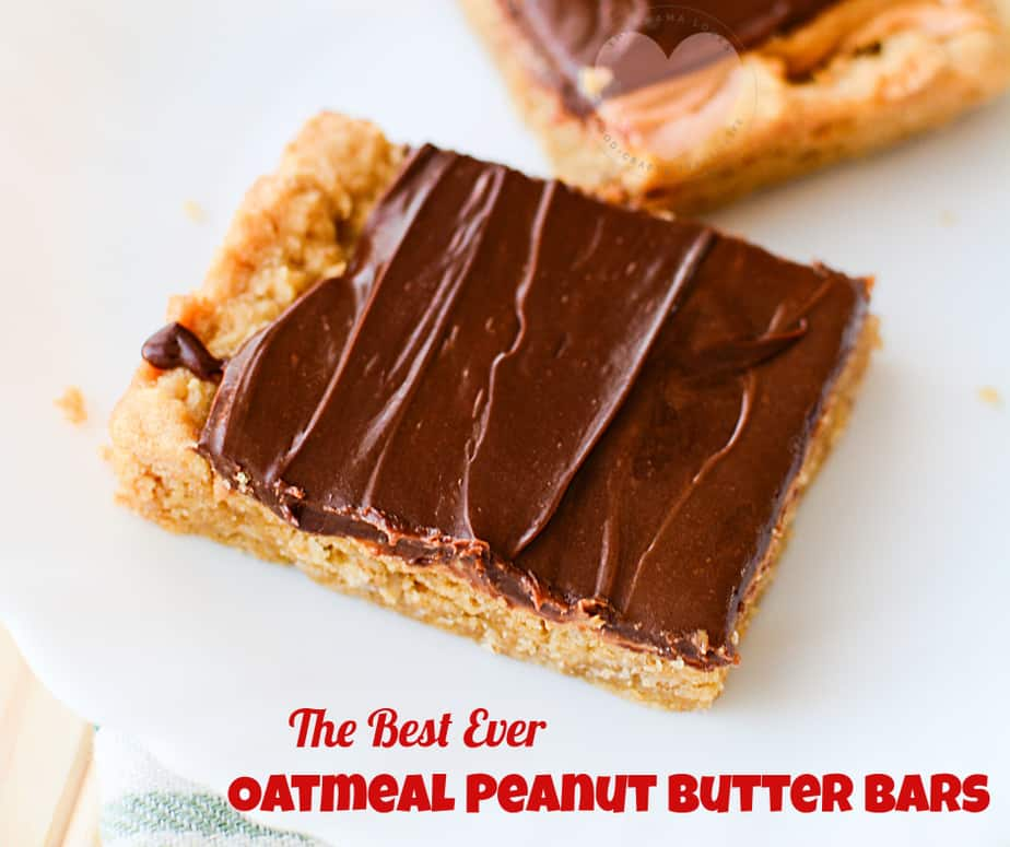 The Best Ever Oatmeal Peanut Butter Bars Recipe from This Mama Loves