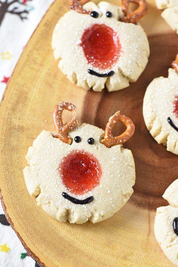 Red Nosed Reindeer Thumbprint Cookies from Adventures of Mel
