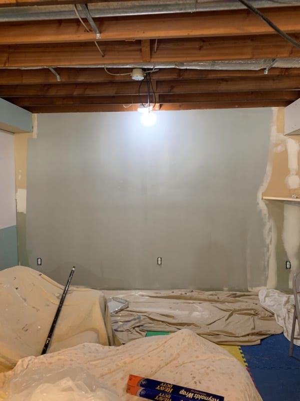 basement wall before paint