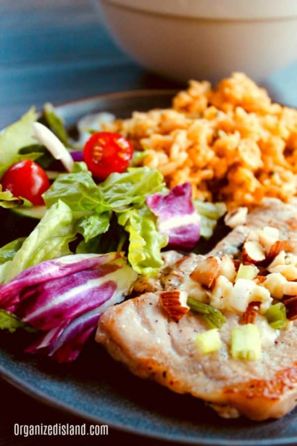 Skillet Pork Chops with Feta Cheese from Organized Island