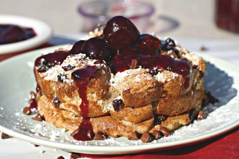 Chocolate Cherry French Toast Casserole from Looney for Food