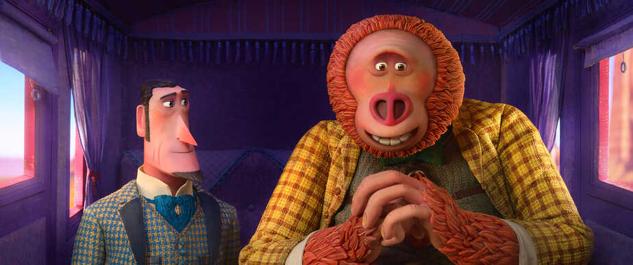 Sir Lionel Frost (left) voiced by Hugh Jackman and Mr. Link (right) voiced by Zach Galifianakis in director Chris Butler's MISSING LINK, a Laika Studios Production and Annapurna Pictures release.