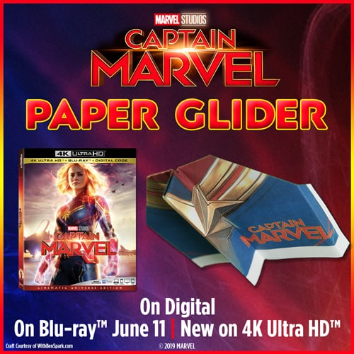 captain marvel paper glider craft