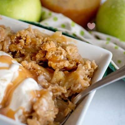 Apple Crisp from Scratch with Homemade Caramel Sauce