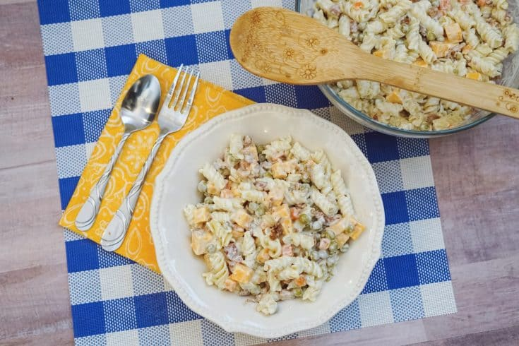 This Bacon Ranch Pasta Salad is a side dish you can bring with you to any kind of gathering and a surefire crowd pleaser!