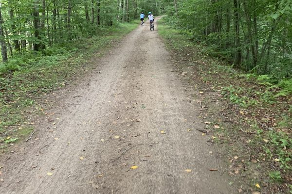 mom biking behind kids on trail