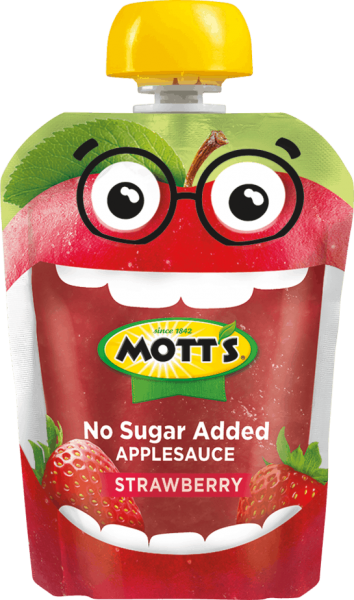 strawberry applesauce in clear pouch