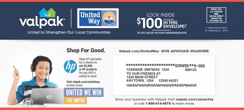 valpak united way envelope